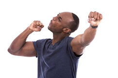 Handsome black man thrilled with excitement Stock Photos