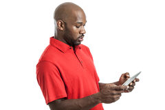 Handsome black man using tablet PC stock image