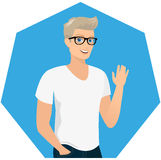 Handsome blond guy close-up vector illustration Stock Image