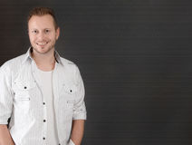Handsome blond man - man isolated on black background Royalty Free Stock Photography
