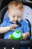 Handsome boy in pram. Handsome blonde boy sitting in pram, lovely child playing with his cup in pram Stock Photography