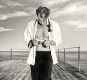 Handsome Blonde Male Photographer Outdoors Royalty Free Stock Photo