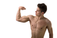 Handsome bodybuilder doing bicep pose, isolated Royalty Free Stock Photo
