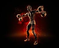 Handsome bodybuilder with dumbbells. 3d illustration.  Royalty Free Stock Photo
