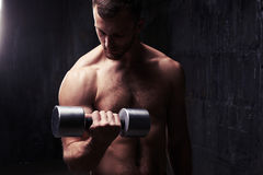 Handsome bodybuilder posing shirtless with dumbbell in dim light royalty free stock photo