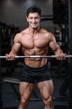 Handsome bodybuilder training in the gym man lift dumbbells Royalty Free Stock Photo