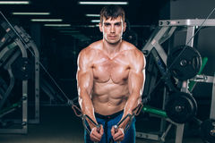 Handsome bodybuilder works out pushing up excercise in gym Stock Image