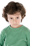 Handsome boy angry. A over white background royalty free stock photo