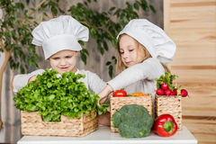 Handsome boy and beautiful young girl playing in the kitchen chefs. Healthy food. Vegetables Stock Image