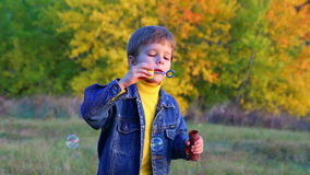 Handsome boy blowing a soap bubbles stock footage