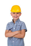 Handsome boy in blue checkered shirt and yellow building helmet, smiling on white background Stock Image