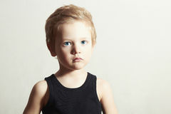 Handsome Boy with Blue Eyes. Close-up portrait of child Royalty Free Stock Image