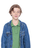 Handsome boy with denim jacket Stock Photography