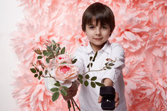 Handsome boy with flower and jewelry box ring with diamond Stock Images