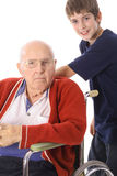 Handsome boy with handicap great grandfather Stock Photo