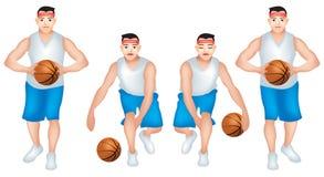 Basketball Player male dribbling set 2 vector illustration