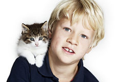 Handsome boy with kitten on shoulder Stock Image
