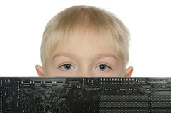 Handsome boy with the motherboard Stock Image