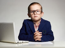Handsome boy in office.business child stock photo