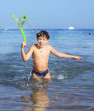 Handsome boy with snorkeling mask and tube Royalty Free Stock Photo