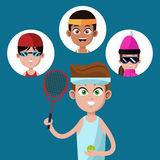 Handsome boy tennis racket ball-group players Royalty Free Stock Photo