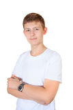 Handsome boy in white t-shirt and clock with his hand isolated o royalty free stock photo