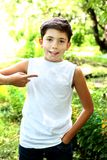 Handsome boy in white tshirt free of inscription Stock Photos