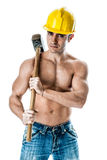 Handsome bricklayer Stock Photography