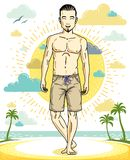 Handsome brunet man with beard poses on tropical beach in shorts. Vector character. Summer holidays theme Royalty Free Stock Images