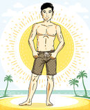 Handsome brunet man standing on tropical beach and wearing beach Royalty Free Stock Photography