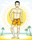 Handsome brunet man standing on tropical beach and wearing beach. Wear shorts. Vector human illustration. Summer vacation theme Stock Photo