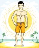 Handsome brunet man standing on tropical beach and wearing beach. Wear shorts. Vector human illustration. Summer vacation theme Royalty Free Stock Images