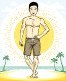 Handsome brunet man standing on tropical beach and wearing beach. Wear shorts. Vector human illustration. Summer vacation theme Royalty Free Stock Photos