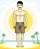 Handsome brunet man with whiskers poses on tropical beach in sho. Rts. Vector character. Summer holidays theme Stock Photography