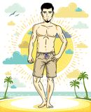 Handsome brunet young man with beard is standing on tropical bea. Ch in shorts. Vector illustration of athletic male. Summer vacation lifestyle theme cartoon Royalty Free Stock Photos