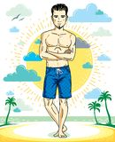 Handsome brunet young man with beard is standing on tropical bea. Ch in shorts. Vector illustration of athletic male. Summer vacation lifestyle theme cartoon Royalty Free Stock Photography