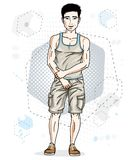 Handsome brunet young man poses on modern background with hexago. Ns. Vector illustration of male. Lifestyle theme clipart Stock Photography