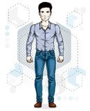 Handsome brunet young man poses on modern background with hexago. Ns. Vector illustration of male. Lifestyle theme clipart Stock Image