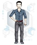 Handsome brunet young man poses on modern background with hexago. Ns. Vector illustration of male. Lifestyle theme clipart Royalty Free Stock Photo
