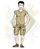 Handsome brunet young man poses on modern background with hexago. Ns. Vector illustration of male. Lifestyle theme clipart Royalty Free Stock Photos