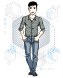 Handsome brunet young man poses on modern background with hexago Stock Photography