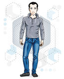Handsome brunet young man poses on modern background with hexago Royalty Free Stock Photo
