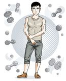 Handsome brunet young man poses on simple background with dumbbe. Lls and barbells. Vector illustration of sportsman. Work out and training theme Stock Photo