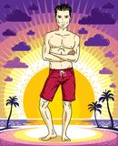 Handsome brunet young man is standing in red shorts on sunset vi. Ew of tropical beach. Vector athletic male illustration. Summer vacation lifestyle theme Stock Photos