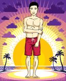 Handsome brunet young man is standing in shorts on sunset view o. F tropical beach. Vector athletic male illustration. Summer vacation lifestyle theme cartoon Stock Photo