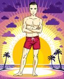 Handsome brunet young man is standing in shorts on sunset view o. F tropical beach. Vector athletic male illustration. Summer vacation lifestyle theme cartoon Royalty Free Stock Photo
