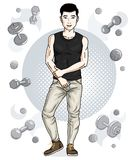 Handsome brunet young man is standing on simple background with. Dumbbells and barbells. Vector illustration of sportsman.  Active and healthy lifestyle theme Royalty Free Stock Photography