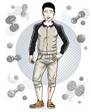 Handsome brunet young man is standing on simple background with. Dumbbells and barbells. Vector illustration of sportsman.  Active and healthy lifestyle theme Royalty Free Stock Images