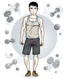 Handsome brunet young man is standing on simple background with. Dumbbells and barbells. Vector illustration of sportsman.  Active and healthy lifestyle theme Royalty Free Stock Photos