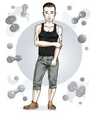 Handsome brunet young man is standing on simple background with. Dumbbells and barbells. Vector illustration of sportsman.  Active and healthy lifestyle theme Stock Image